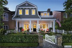 Love this modernized gambrel dutch colonial house. Must find builder to copy this for our New England house. Dutch Colonial Exterior, Dutch Colonial Homes, Gambrel Roof, Primitive Homes, Just Dream, Exterior House Colors, Exterior Paint, Home Additions, Newport Beach