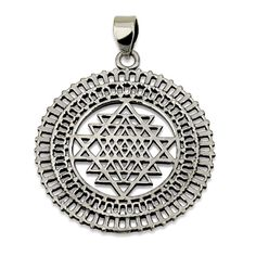Sri Yantra in Rectangles Circle Pendant Sterling Silver 925 Size Sacred Geometry #MAGAYA #Pendant
