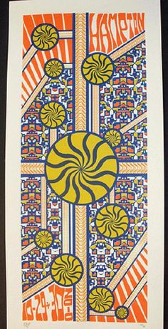 Original silkscreen concert poster for String Cheese Incident in Hampton, VA in 2010. It is printed on Watercolor Paper with Acrylic Inks and measures around 10 x 21.5 inches.  Print is signed and numbered out of 86 by the artist Tripp.