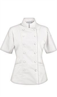Women's Tailored Chef Coat - Fabric Covered Buttons - 65/35 Poly/Cotton by ChefUniforms.com Fabric Covered Button, Covered Buttons, Chef Jackets, Female, Cotton, Gifts, Style, Ideas, Products