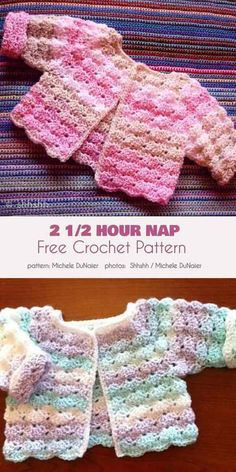 2 Hour Nap Free Crochet Pattern Here is an absolutely beautiful baby sweater that is infinitely variable in terms of color and texture combinations. This gorgeous pattern has a rich, soft texture eminently suited to baby cl Crochet Baby Sweater Pattern, Crochet Baby Sweaters, Baby Sweater Patterns, Baby Girl Crochet, Crochet Baby Clothes, Baby Knitting Patterns, Baby Patterns, Crochet Patterns, Crochet Baby Jacket