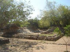Bocana del Rio Copalita. Ball park at archaelogical zone