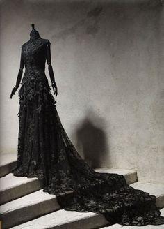 Gothic ~ Gorgeous black lace dress.