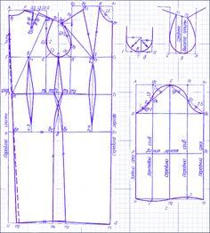 Построение основной выкройки платья. Часть 2. Спинка и перед. | Иллюстрированные уроки по кройке и шитью. Выкройка платья, как сшить платье, платье своими руками.