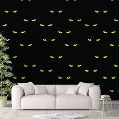 Spooky Cat Wallpaper, Black Cat Wall Cling, Scary Wall Decal, Kitty Peel and Stick, Halloween Wall Decor, Cat Eyes Pattern, Horror Decor - Canvas Wall Decal / 1 roll: 24W x 84H