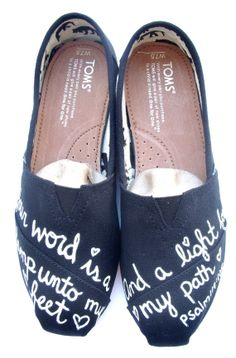 The Light Black and White Custom TOMS by FruitfulFeet on Etsy
