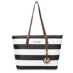 KnowInTheBox - High Quality Michael Kors Jet Set Striped Travel Medium Black White Totes From China