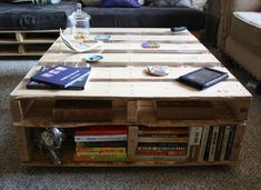 DIY Pallet Coffee Table with Storage for Books | Pallets Designs