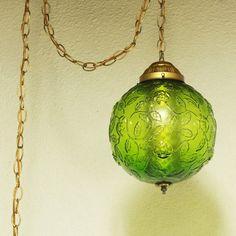 vintage hanging light hanging lamp green globe chain cord