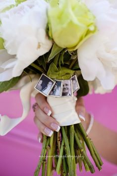For loved ones that cannot be at the wedding. Place pictures on bride's bouquet. LOVE LOVE LOVE THIS...wish i would have done