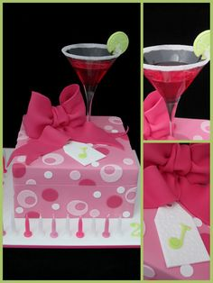Image detail for birthday cake pink cocktail present cake Birthday Present Cake, 21st Birthday Presents, 32 Birthday, 21st Birthday Cakes, Birthday Cakes For Women, Cocktail Rose, Cocktail Glass, 21st Bday Ideas, Birthday Ideas