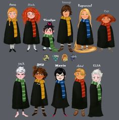 Disney and Dreamworks characters as Hogwarts students Harry Potter Anime, Harry Potter Disney, Harry Potter Puns, Harry Potter Artwork, Harry Potter Drawings, Harry Potter Houses, Harry Potter Pictures, Harry Potter Wallpaper, Harry Potter World