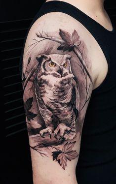 Mens Owl Tattoo, Deer Tattoo, Leg Tattoo Men, Dove Tattoos, Body Art Tattoos, Tatoos, Tattoos For Women Half Sleeve, Half Sleeve Tattoos Designs, Realistic Owl Tattoo