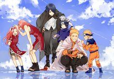 Younger and older Sakura, Sasuke, and Naruto