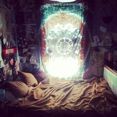 I wonder how it would look if I pushed my bed right up to my window? I could put my tapestry over it... Then I could hang a hammock in the large space leftover.