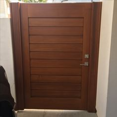 Custom Wood Gate by Garden Passages - Large Modern Style with Clean Horizontal Lines Front Gates, Entry Gates, Front Entry, Custom Wood, Tall Cabinet Storage, Home Improvement, Gardens, Backyard, Doors