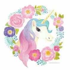 Beautiful unicorn and wreath