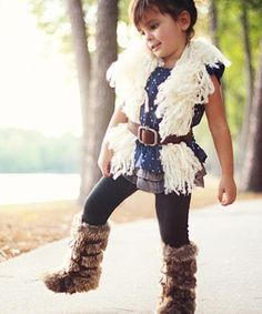 What a cute little outfit for a little girl! Love those boots with the fur.