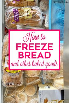 How to freeze bread and other baked goods to maintain freshness! Make your bread and baked goods last longer by freezing them. Freezing Bread, How To Freeze Bread, Baking Tips, Bread Baking, Freeze Muffins, Frozen Love, Prep Kitchen, Kitchen Hacks, Frozen Cookies