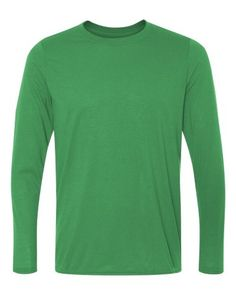 A long-sleeve option in moisture-wicking polyester.