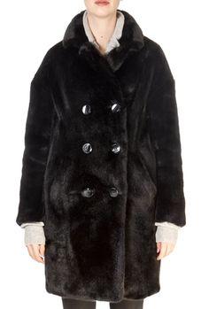 'Dalya' Black Faux Fur Coat | Jessimara