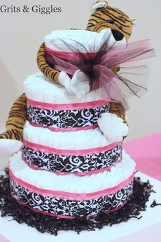 Grits & Giggles: Diaper Cake - step by step Photo tutorial - Bildanleitung