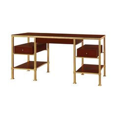 BUNGALOW 5 - Marcel Desk MRC-350-404  The Marcel group of tailored metal and leather shares a spirit with Jacques Adnet's renowned Hermes collaboration. Both have spare, architectural, original frames warmed by craft leather. Details include gold leafed wrought iron with leather plateaus and leather box storage. Includes: 1-Drawer Side Table, Desk, Console and Etagere. Gold leafed wrought iron and brown leather. Brass pulls.    Product Details: Gold Leaf and Leather, Mahogany Veneer, Antique…