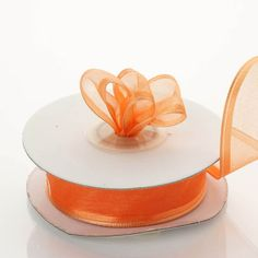 "10 Yards 7/8"" Coral Orange Wired Organza Ribbon - Clearance SALE"