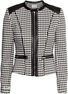 Fitted jacket in woven houndstooth fabric with imitation leather details and front zip. Front pockets and cuffs with zips. Sweater Jacket, Blazer Jacket, Faux Jacket, Houndstooth Jacket, Houndstooth Fabric, Mode Chanel, Professional Wear, Tailored Jacket, Work Attire