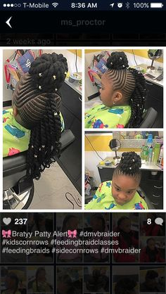 American and African Hair Braiding : Maybe if the bun was smaller - Beauty Haircut Lil Girl Hairstyles, Natural Hairstyles For Kids, Kids Braided Hairstyles, African Braids Hairstyles, My Hairstyle, Black Hairstyles, Little Girl Braids, Black Girl Braids, Braids For Kids