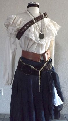 Adult Women's Pirate Halloween Costume - Including Jewelry, A Blouse, Skirt, Would look good with shawl