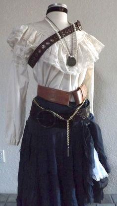 Women's komplette Piraten-Kostüm - einschließlich Schmuck, eine Bluse, Rock, & Gürtel - viktorianischen / Old-West Saloon Girl - Medium / Small