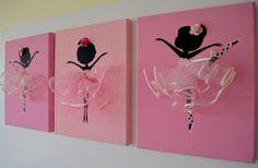 Dancing Ballerinas Wall Art. Set of three pink by FlorasShop, $42.00