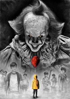 Stephen King IT 2017 PENCIL DRAWING Pennywise vs Losers Club Video: A tribute drawing to my favorite author, my favorite book . Stephen King IT 2017 Pennywise vs Losers Club Horror Movie Posters, Horror Movie Characters, It Horror Movie, Penny Wise Clown, Pennywise Tattoo, Pennywise The Dancing Clown, Pennywise Painting, Creepiest Horror Movies, Scary Movies