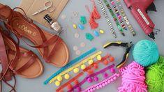 InStyle DIY-zelfstudie: Zelf Pom Pom Sandals maken - Fashion for teens Pom Pom Sandals, Bohemian Sandals, Boho Diy, Bare Foot Sandals, Diy Clothing, Diy Fashion, Bohemian Fashion, Fashion Ideas, Fashion Accessories