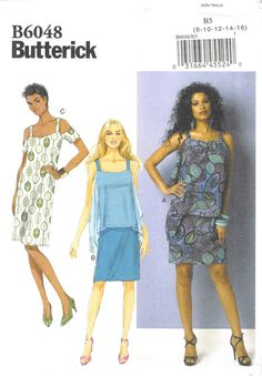 Size 8 10 12 14 16 Bust 31.5 32.5 34 36 38; Butterick 6048; Misses Summer Open Shoulder Dress; Ladies Fitted Overlay Sewing Pattern by AffordablePatterns