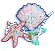 Seashells-Tropical-Beach-Iridescent-Embroidered-Iron-On-Applique-Patch