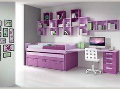Composición de muebles de dormitorios juveniles de la firma Muebles Arasanz