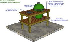Big Green Egg Smoker Table Plans by Curbs - Need paper towel holder on the side, and storage crate slide-outs underneath, and someone that can build this