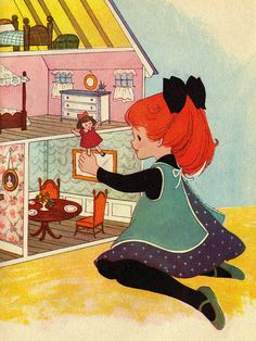Vintage children's book, little girl plays with dollouse (book unidentified) | Source: AnastasiaC @ Flickr