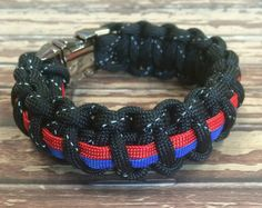 Active 550 Paracord Survival Bracelet Thin Red Line Support Firefighters Firemen Hero Handmade Bracelet Wrishband Wrish Band Apparel Sewing & Fabric