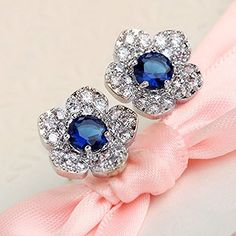 * Penny Deals * - Lovely gift New Fashion Blue Flower Crystal Ear Studs Earrings Elegant Party Jewelry Beauty -- More info could be found at the image url.