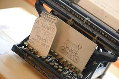 Adorable bridal shower invitation and a vintage typewriter