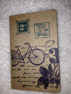 Travel journal made with Stampin' Up! Kraft Grid Journal and decorated using Stampin' Up! Postage Due stamp set.