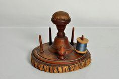 Antique Victorian Wooden Pincushion Sewing Stand Tourist Piece
