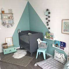 Chambre mixte gris blanc mint - My CMS Baby Boy Nursery Room Ideas, Diy Nursery Decor, Baby Room Colors, Baby Nursery Neutral, Baby Bedroom, Baby Boy Rooms, Baby Room Decor, Wall Colors, Kids Bedroom