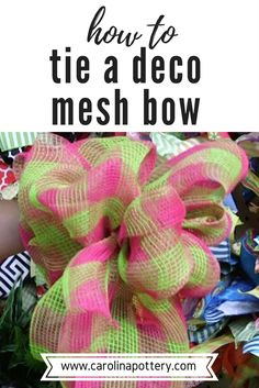 Learn how to tie a deco mesh bow in this diy tutorial video! There are all kinds of uses for deco mesh ribbon, including making many types of wreaths. Deco Mesh Bows, Deco Mesh Crafts, Deco Mesh Garland, Mesh Ribbon Wreaths, Diy Ribbon, Burlap Wreaths, Floral Wreaths, Door Wreaths, Ribbon Bows