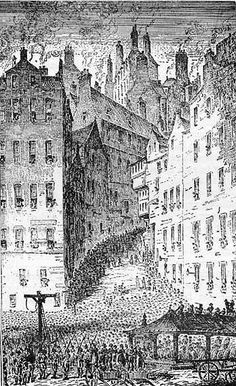 Grassmarket gallows at foot of West Bow