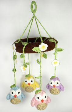 PATTERN: Little Owls Amigurumi Mobile Crochet by WhimsyWayCrochet