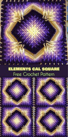 Elements Cal Square for Blankets, Afghans, Pillows, Centrepieces [Free Crochet Pattern]